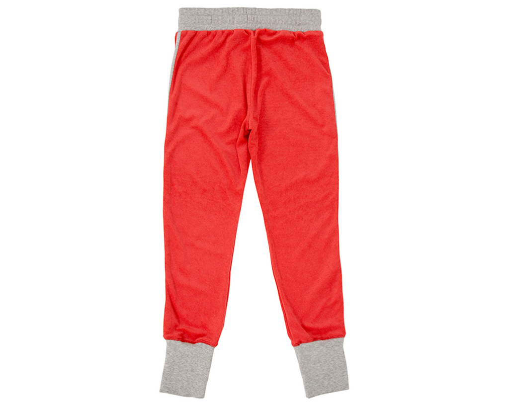 french terry towelling track suit pants in red and grey