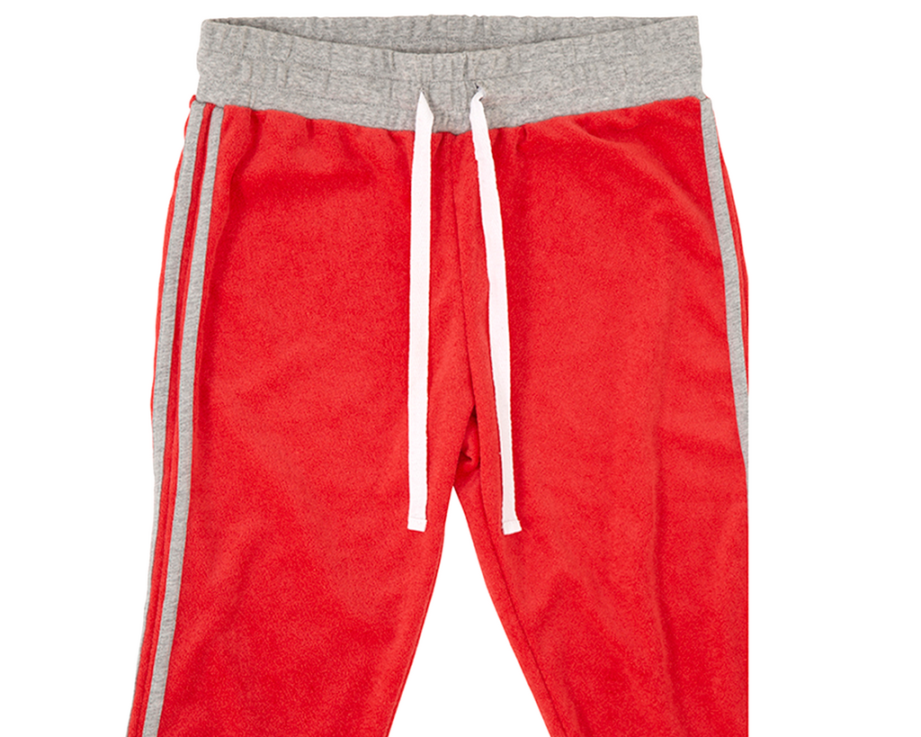 teenage girls tracksuit pants in red french terry towelling with contrast grey