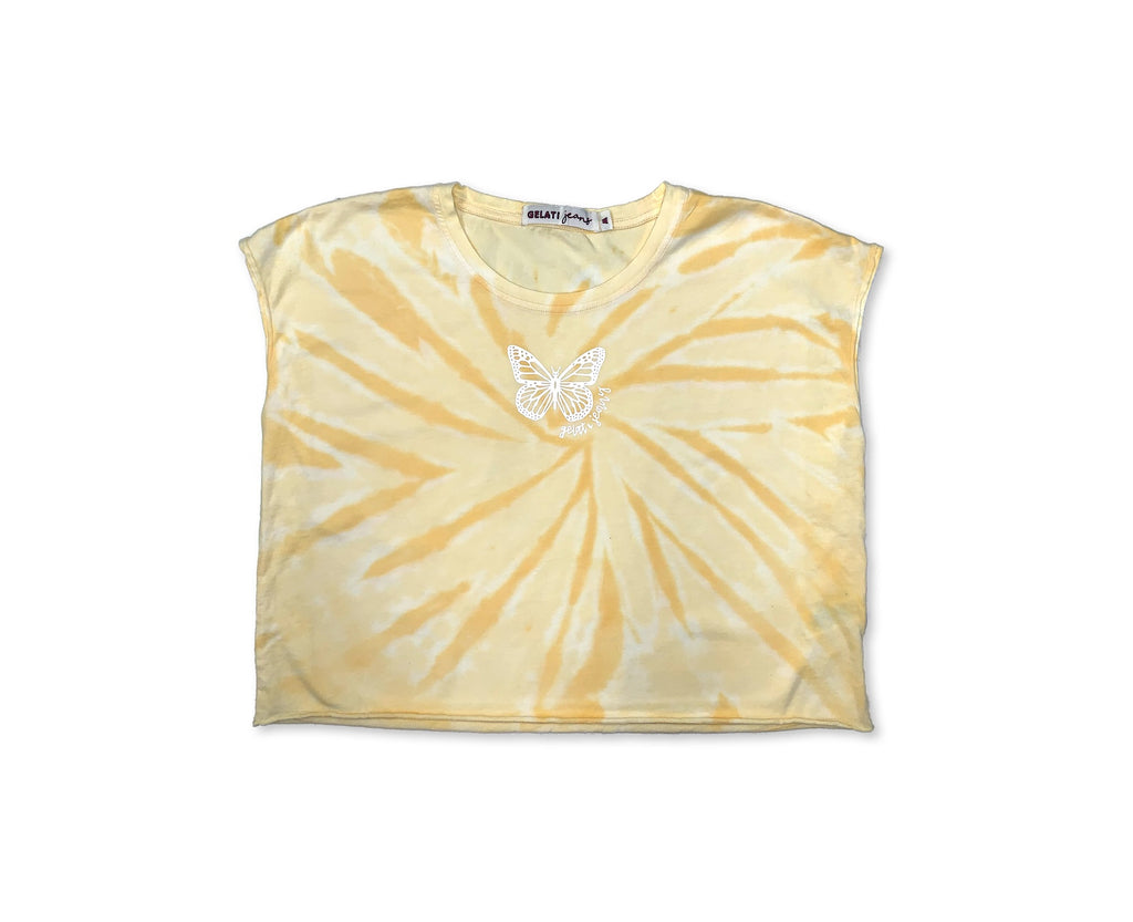 bright yellow swirl tie dye crop with white butterfly print for young and teen  girls