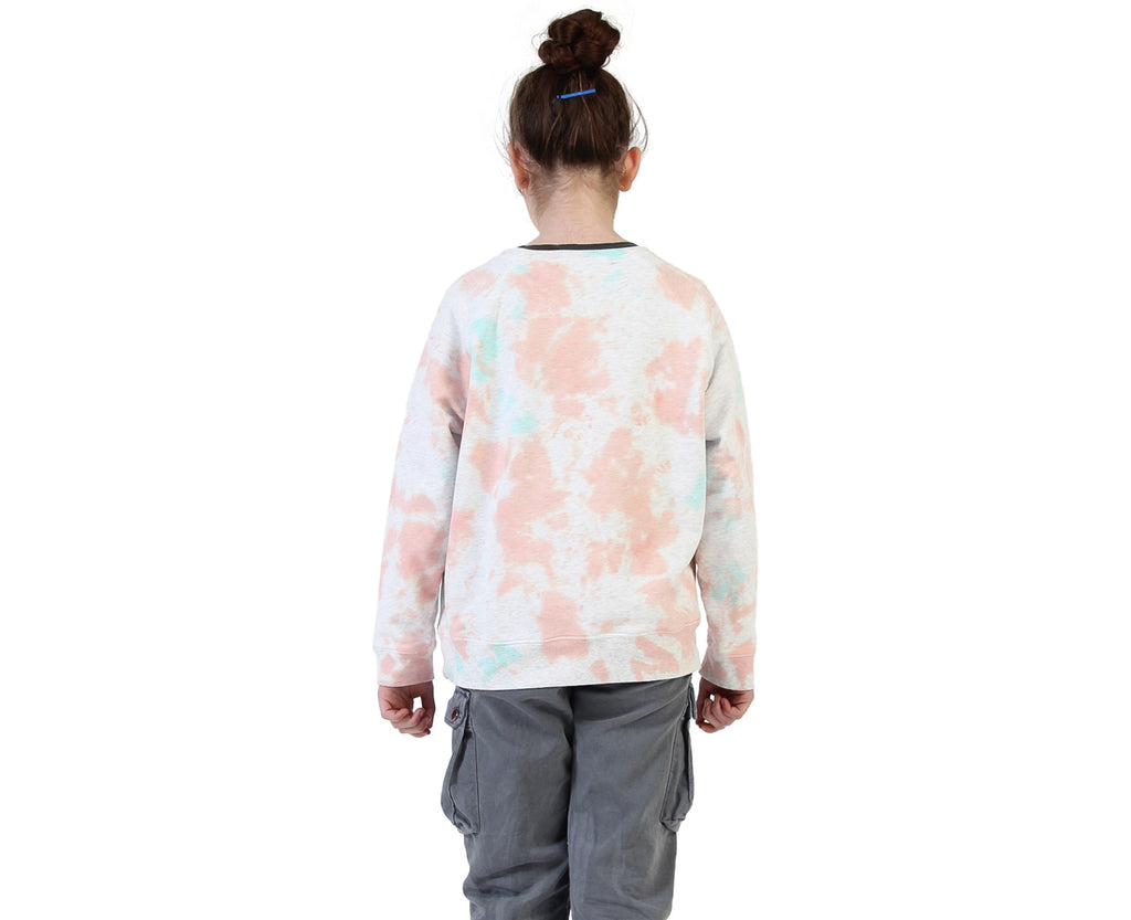back of tie dyed sweater youth girls peach