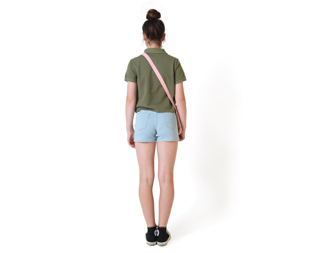 back of khaki polo top made for teen girls