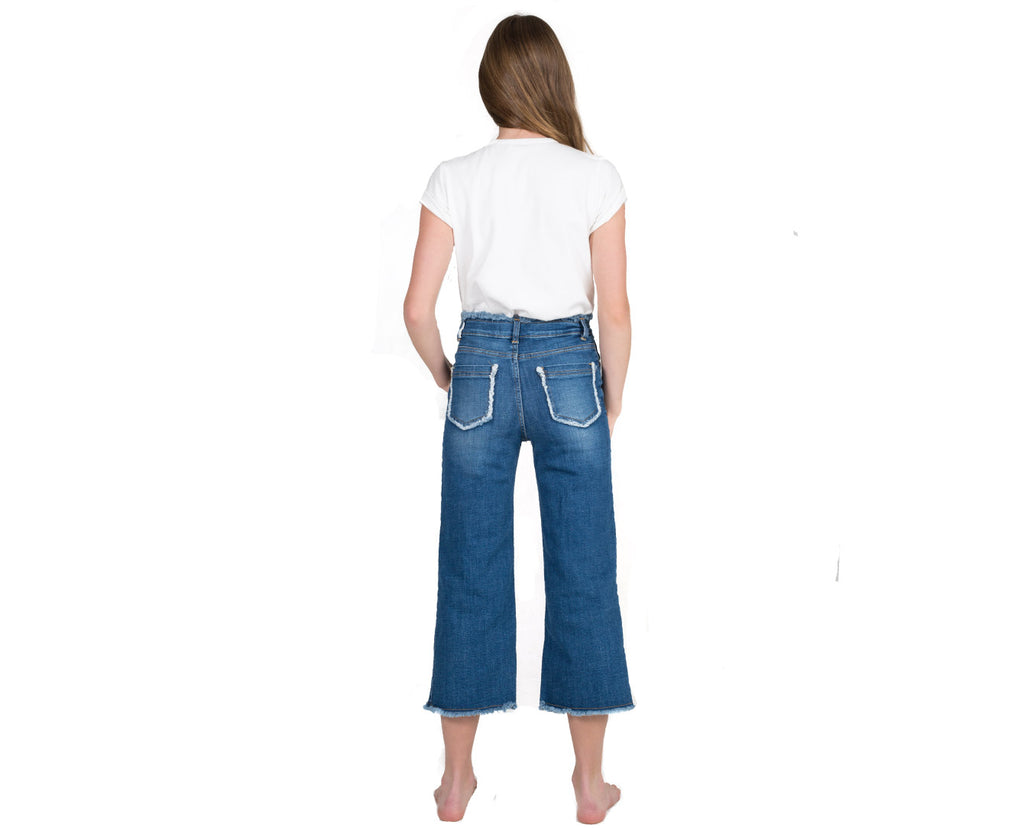 teenage girl high waisted wide leg jeans in dark denim