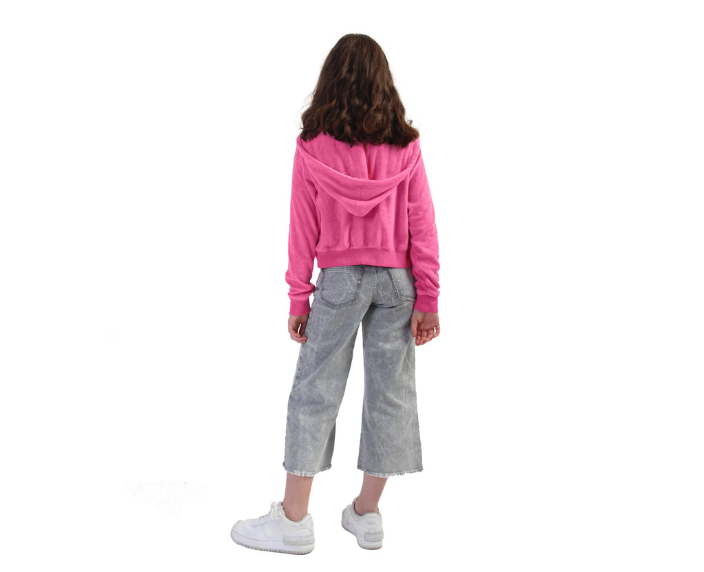 youth girls french terry towelling hoodie in pink