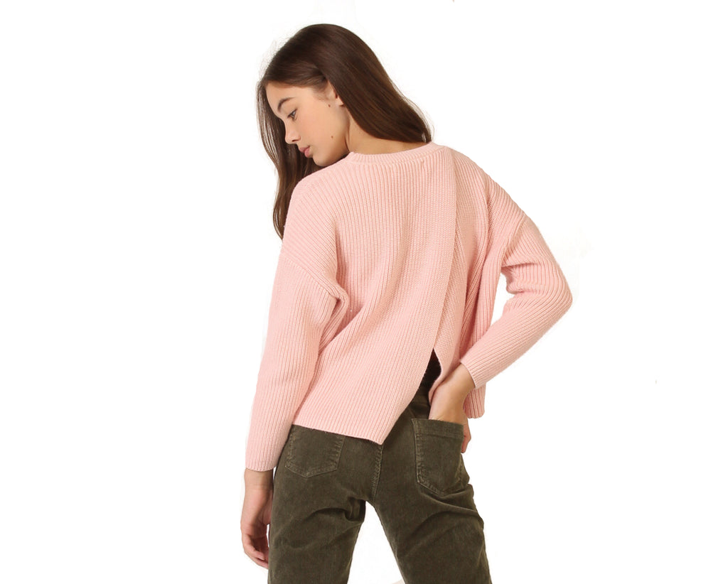 teen girl pink knitted jumper with crossback