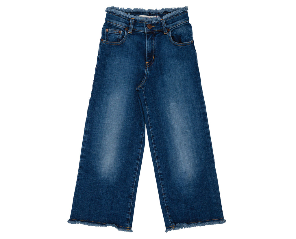 teen girl dark denim wide leg raw edge jean
