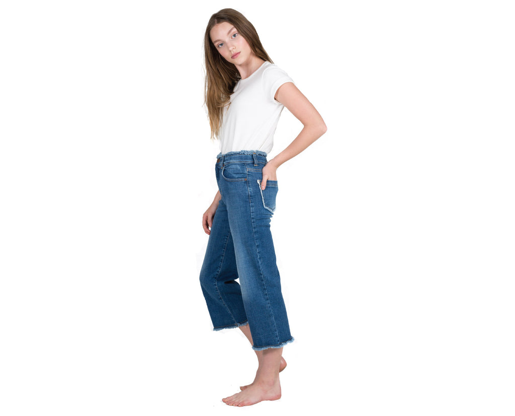 teen girl dark denim wide leg raw edge jean high waisted