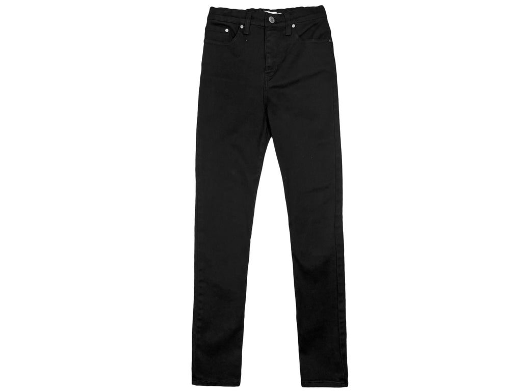 teen girls high waisted skinny jeans in black denim