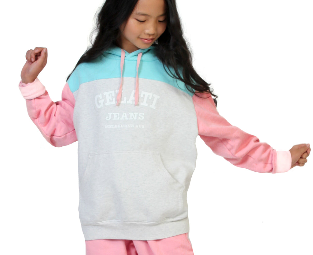 teenage girl pink blue grey hoodie candy