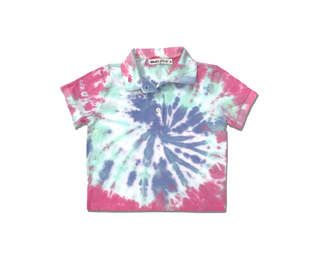 teen girl bright tie dye polo top in pink green and purple