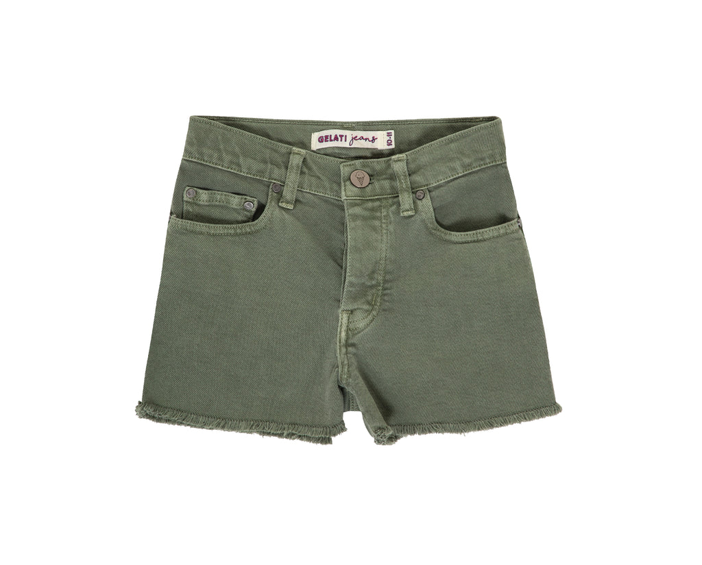 teen girl high waisted shorts in khaki denim