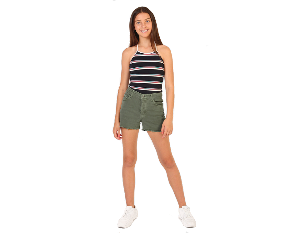 teenage girls high waisted khaki denim shorts