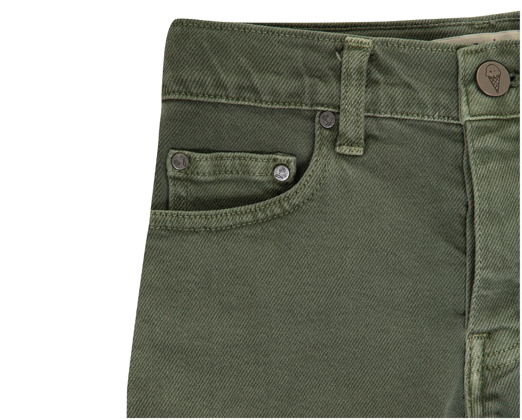 khaki denim shorts in highrise for teen girls