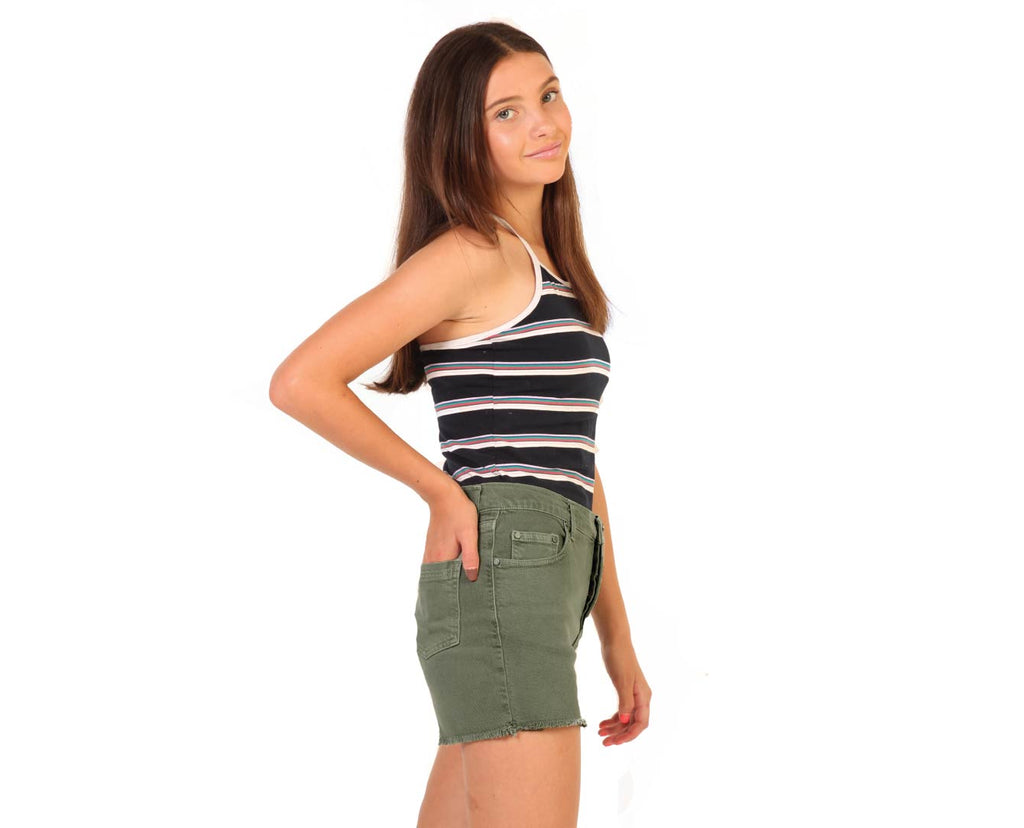 teen girl high rise khaki denim shorts