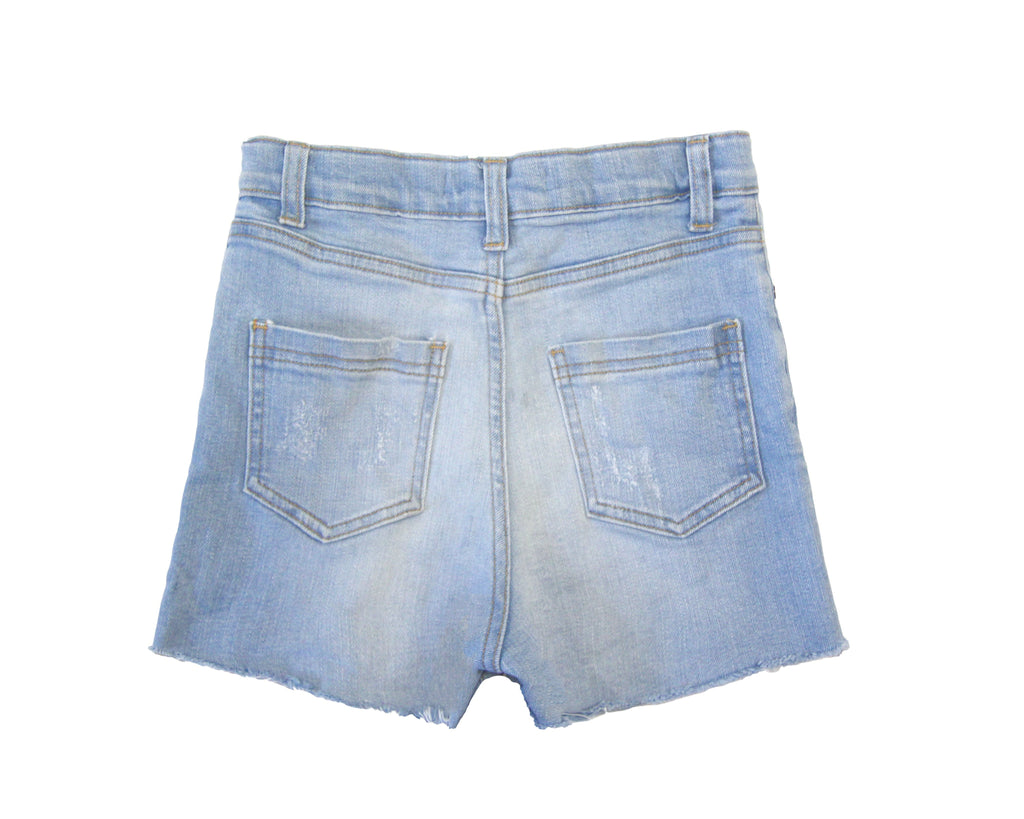 teen girl high rise denim shorts in light wash