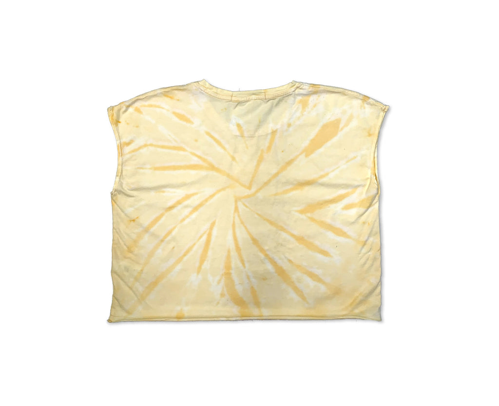 yellow tie dye crop top for teen girls with custom graphic print