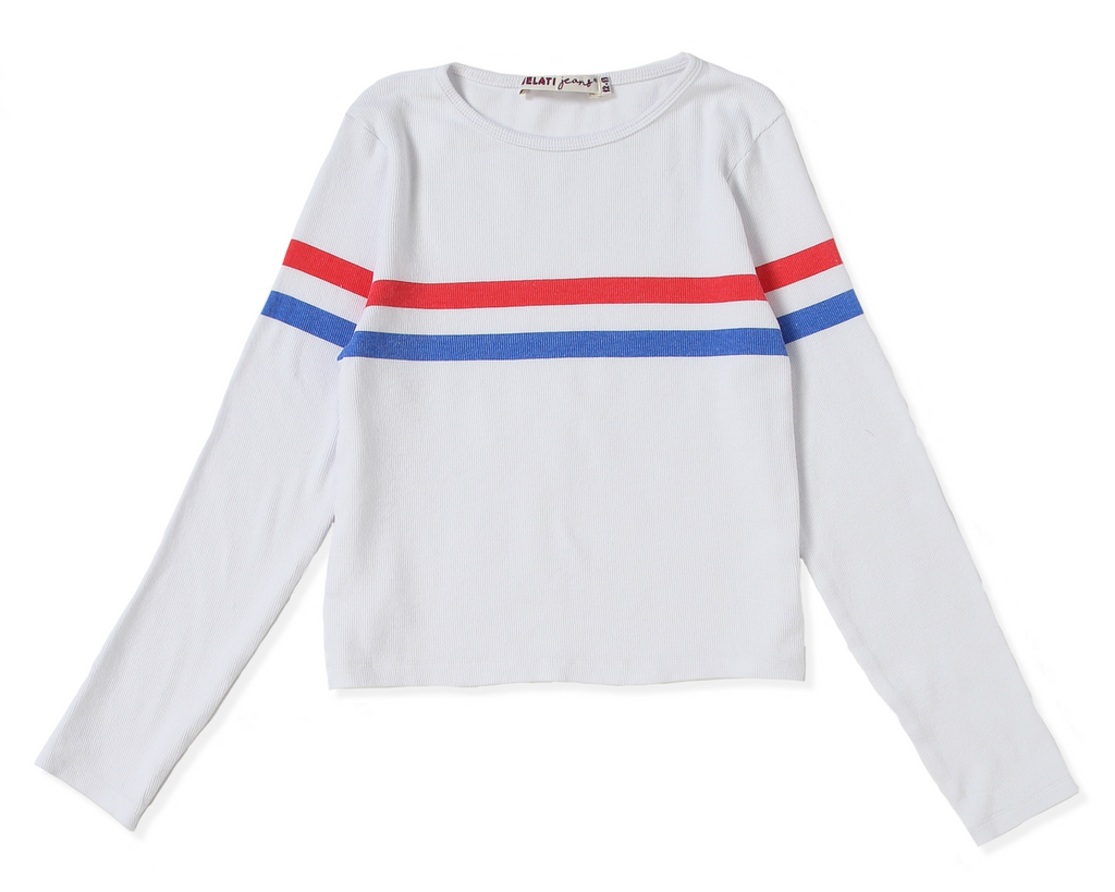 teenage girl long sleeve white ribbed shirt with blue and red stripe