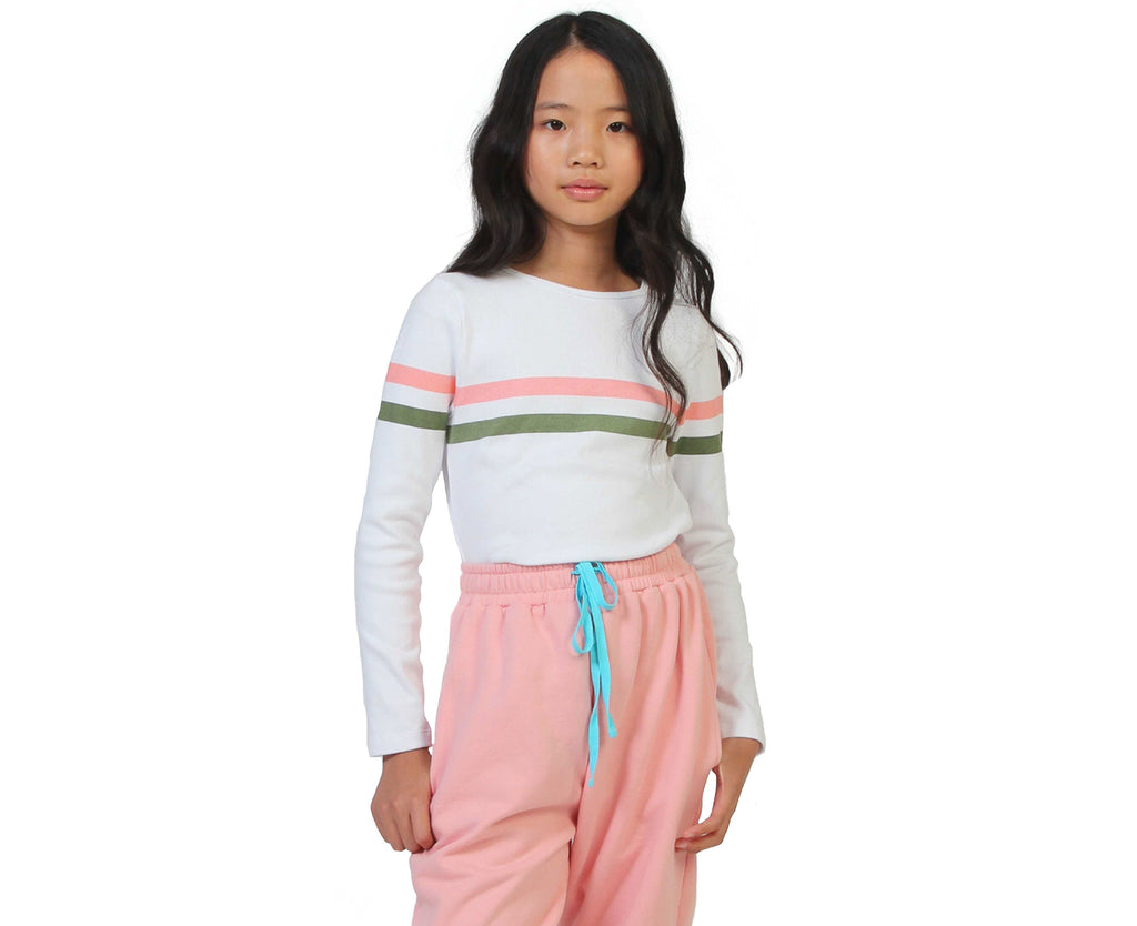 teen girl long sleeve white ribbed shirt with pink khaki stripe striped shirt
