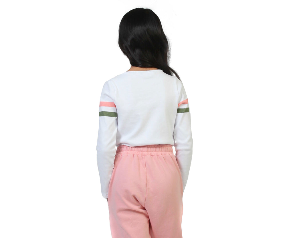 teenage girl white long sleeve ribbed shirt with pink khaki stripes