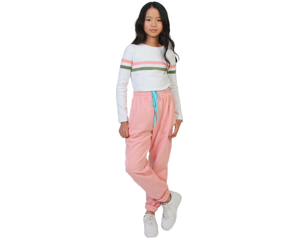 girls long sleeve ribbed white shirt with pink and khaki stripe
