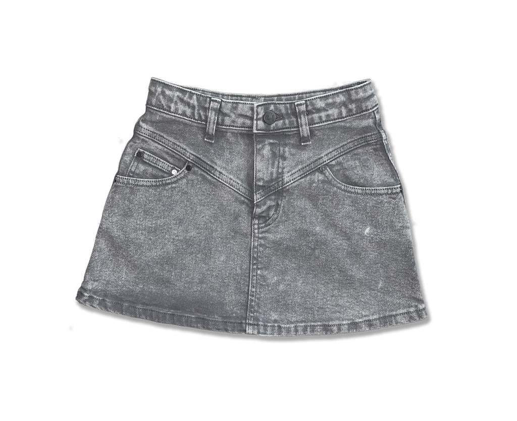 Acid washed grey denim skirt for teen girls yoke