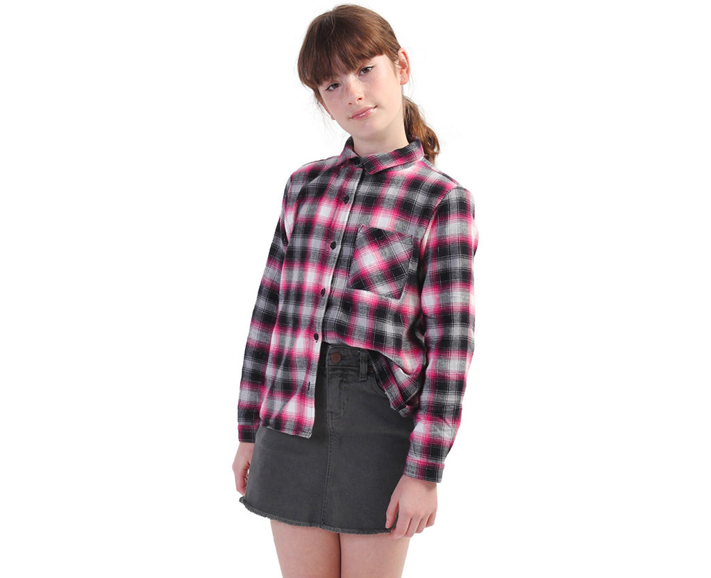 Youth Girl wearing pink black and silver flannel shirt