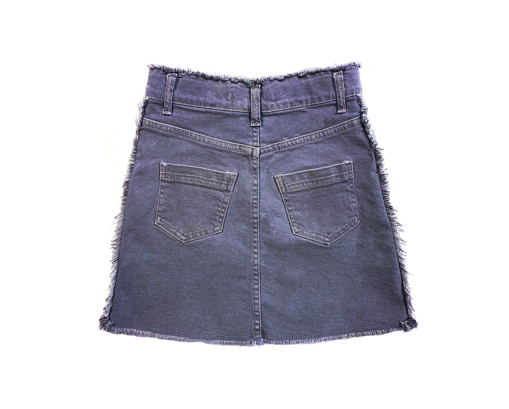 frayed raw edge skirt in pigment navy for teenage girls