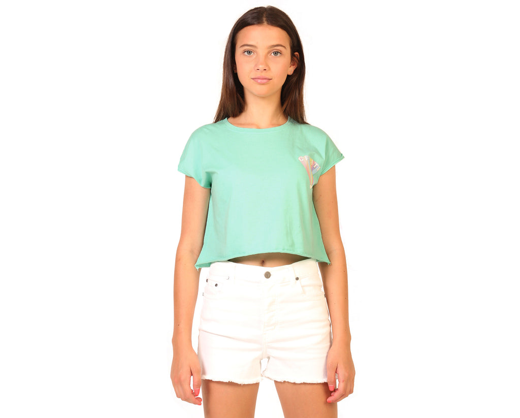 teen girl wearing short sleeve cotton crop top in mint green with custom print