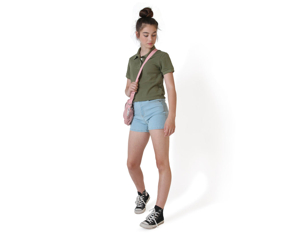 dyed khaki polo shirt for teens