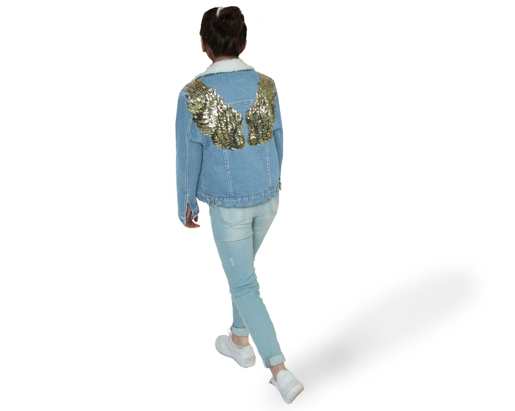 Madonna Sherpa Angel Wings Jacket - Gold