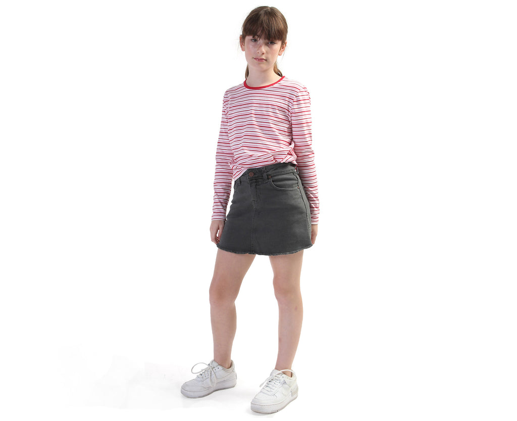 pink red and white striped long sleeve TShirt for teen girls