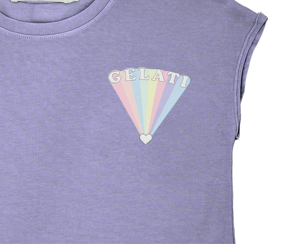 close up crop rainbow tee shirt print
