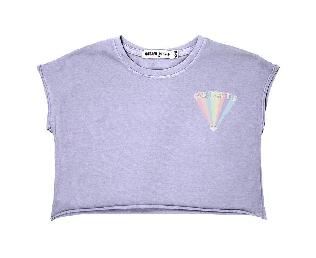 purple lilac crop tshirt tee rainbow print chest print