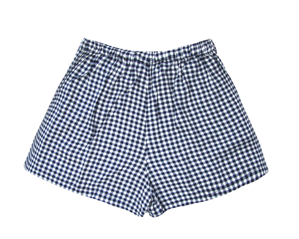 teenage girls gingham shorts in blue and white