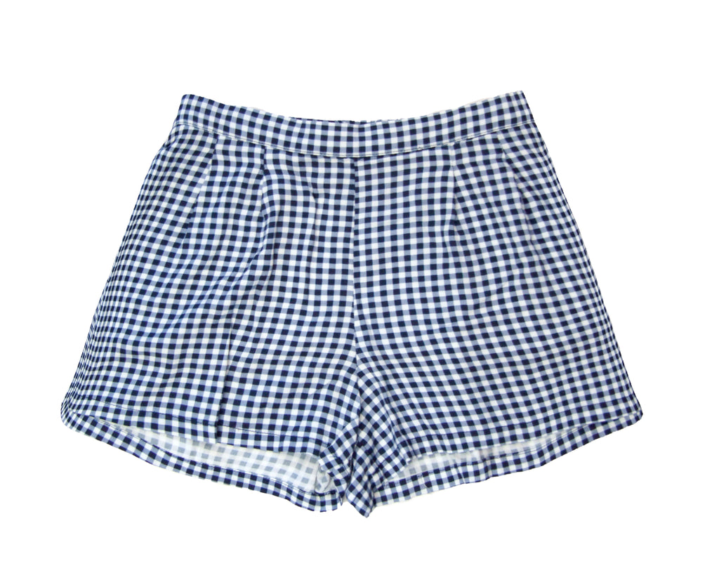 teen girl blue and white gingham rayon shorts