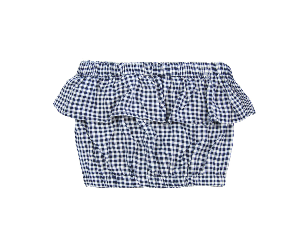 teen girl off shoulder frill ruffle top in blue and white gingham