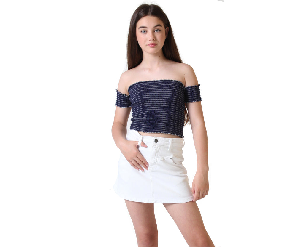 teen girls shirred navy cotton off shoulder top