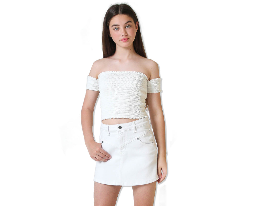 teenage girls shirred bunched top with off shoulder detail