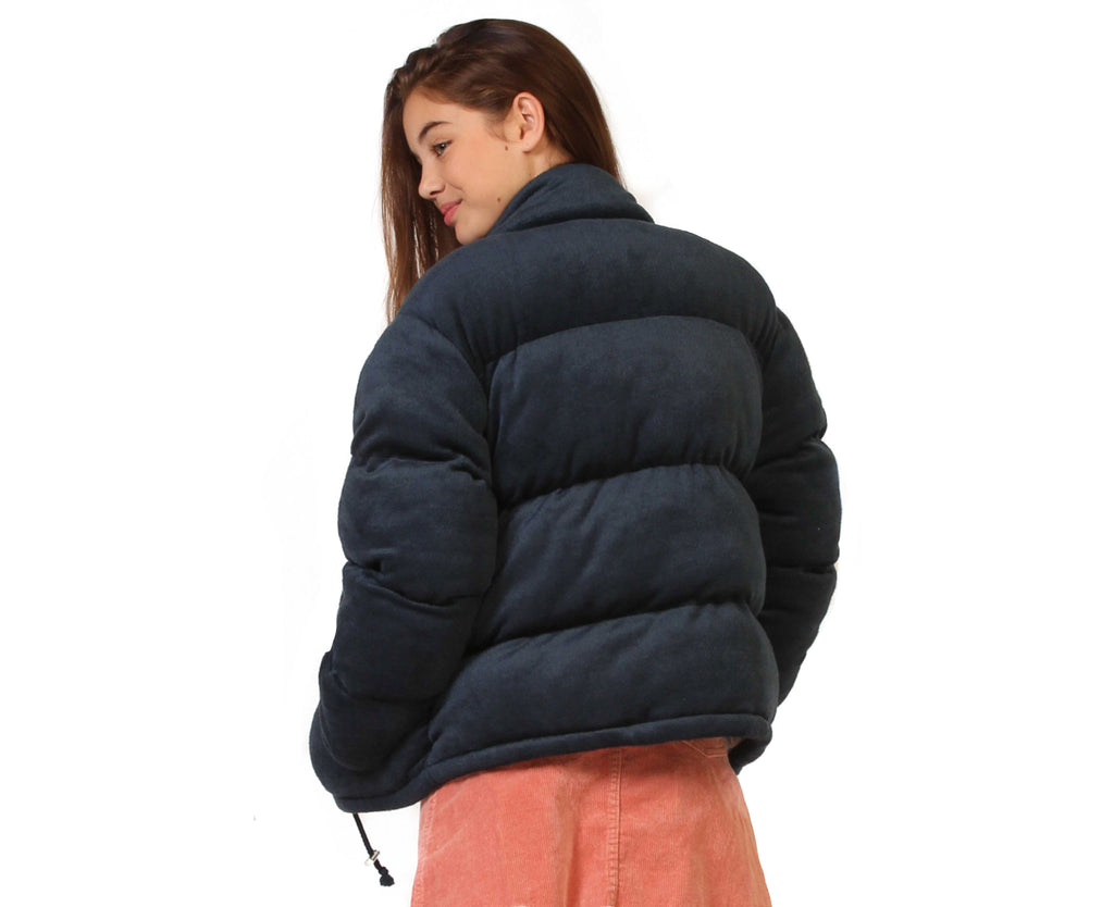 teenage girl velour navy puffer jacket