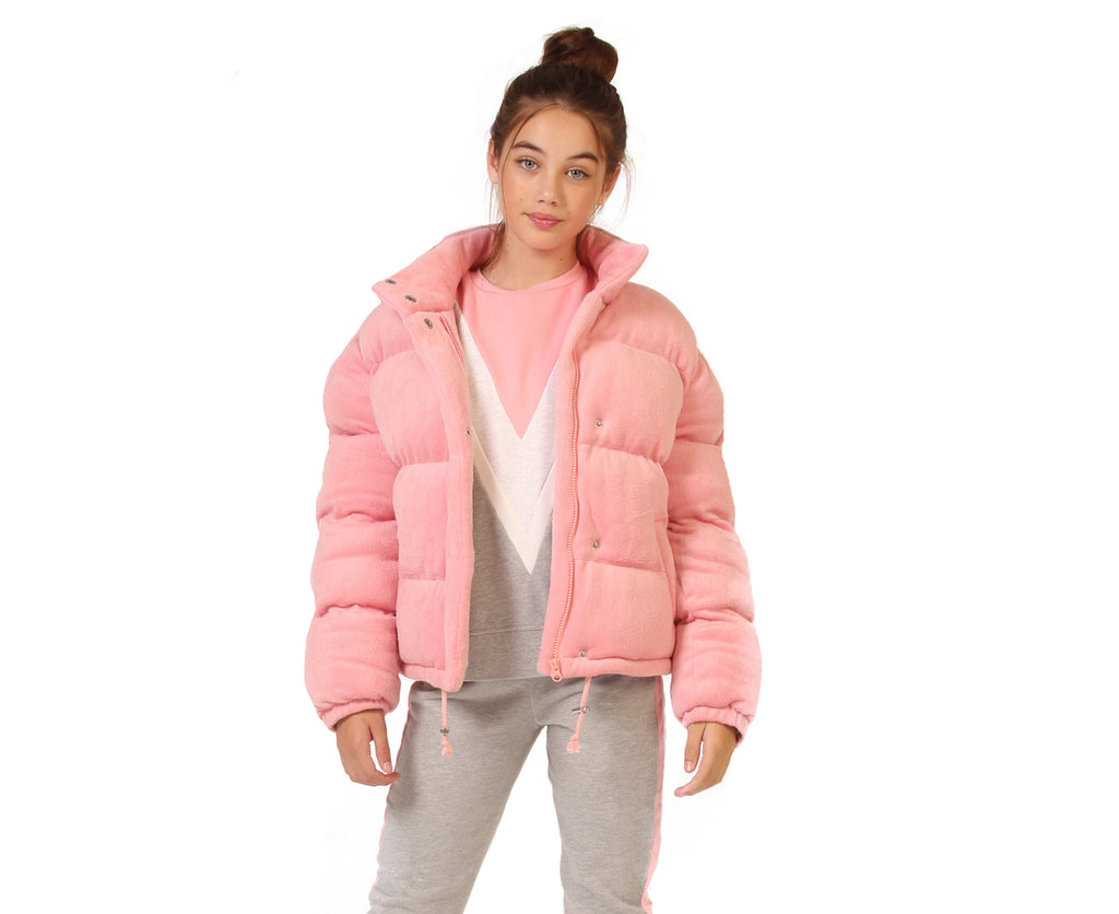 teenage girl velour pink peach puffer jacket