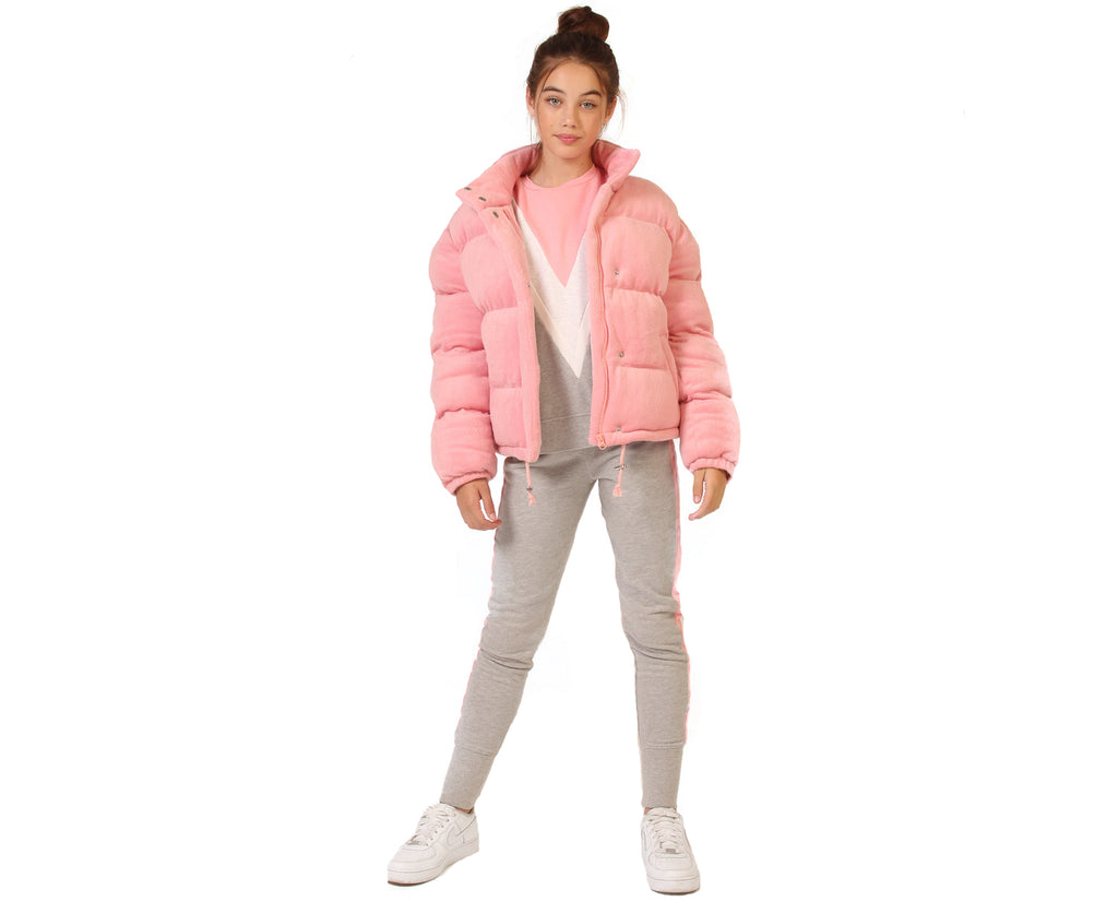 pink velour puffer jacket teen