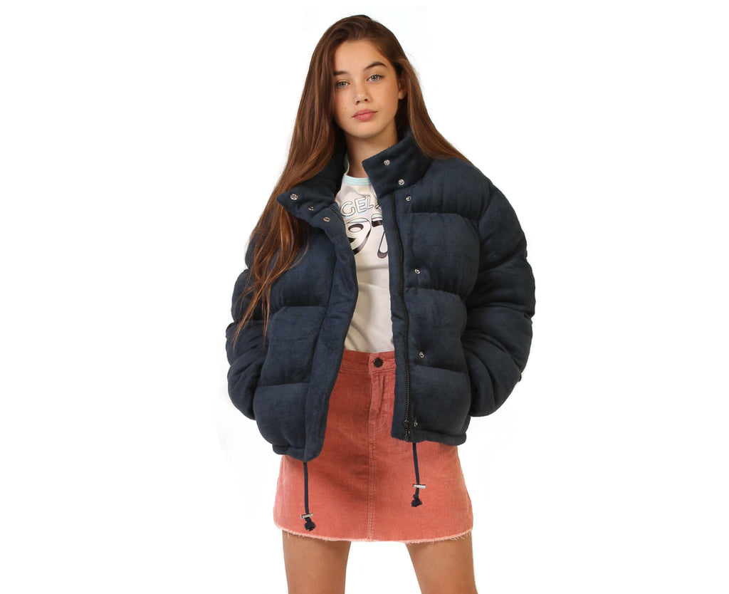 teen girl puffer jacket in navy velour