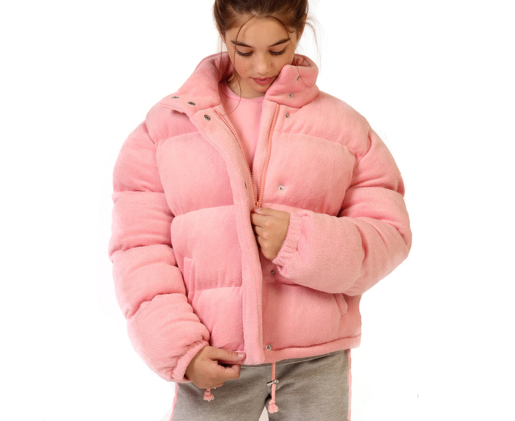 puffer jacket in pink velour