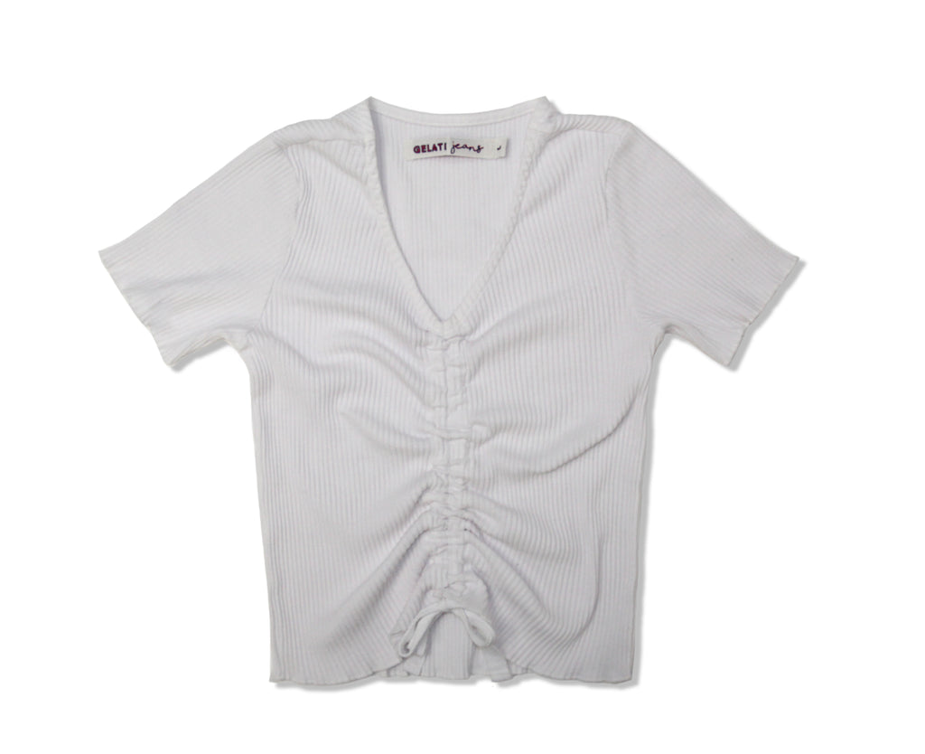 ribbed white top with front drawstring detail for young girls