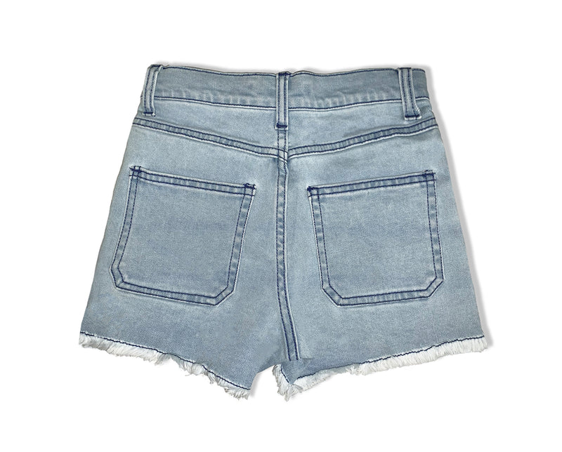high rise pale denim cargo shorts with contrast stitching teenage girl