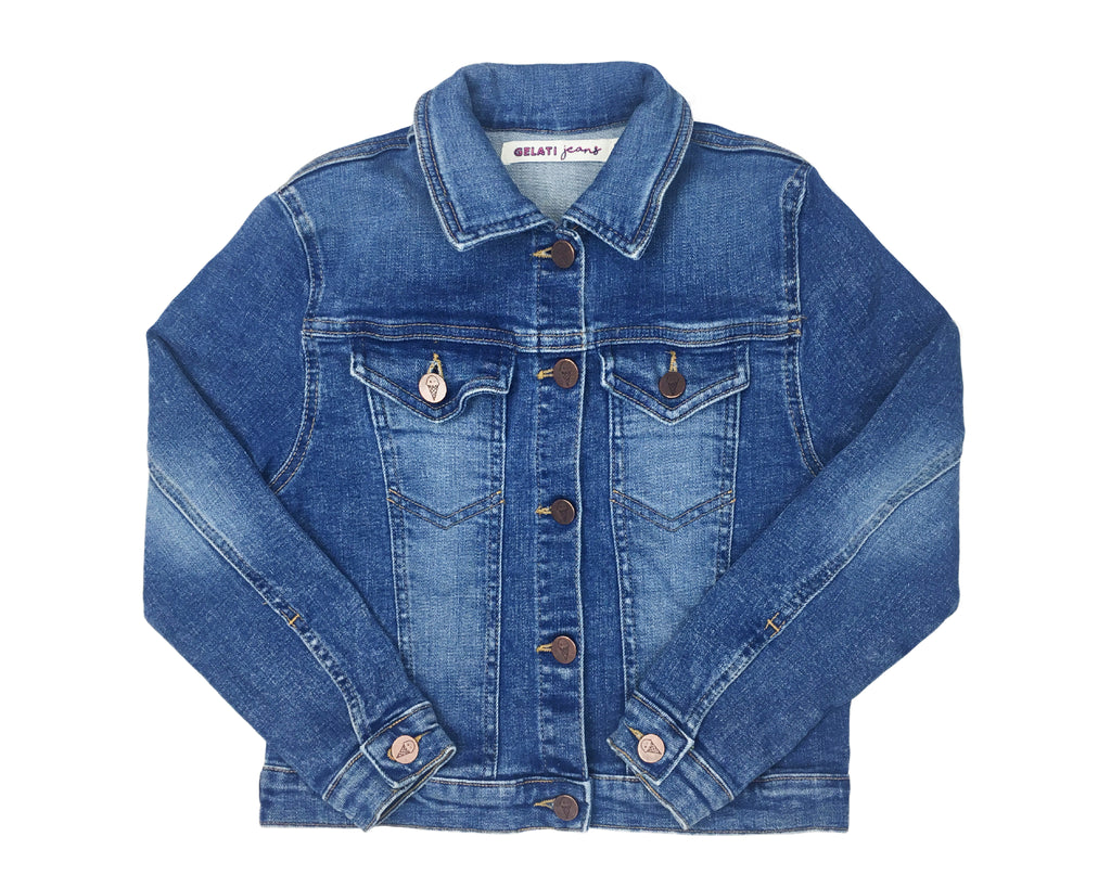 teenage girl mid wash denim jacket blue