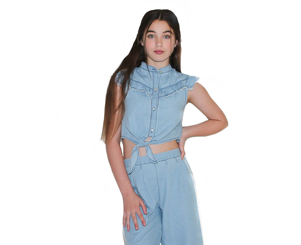 Maisie Chambray Tie Front Top