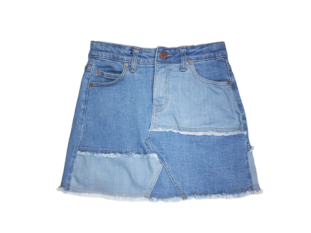 teen girl patchwork light and mid wash denim skirt with raw edge