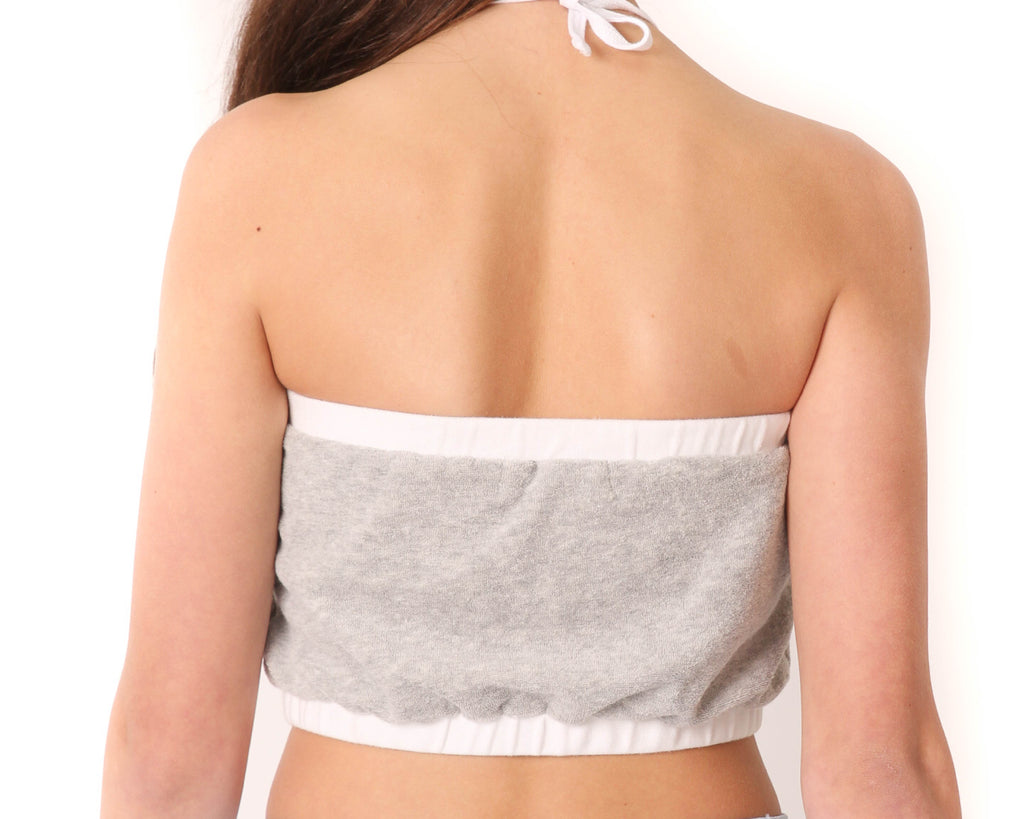 teen girl elasticised halter crop top in grey and white contrast french terry towelling
