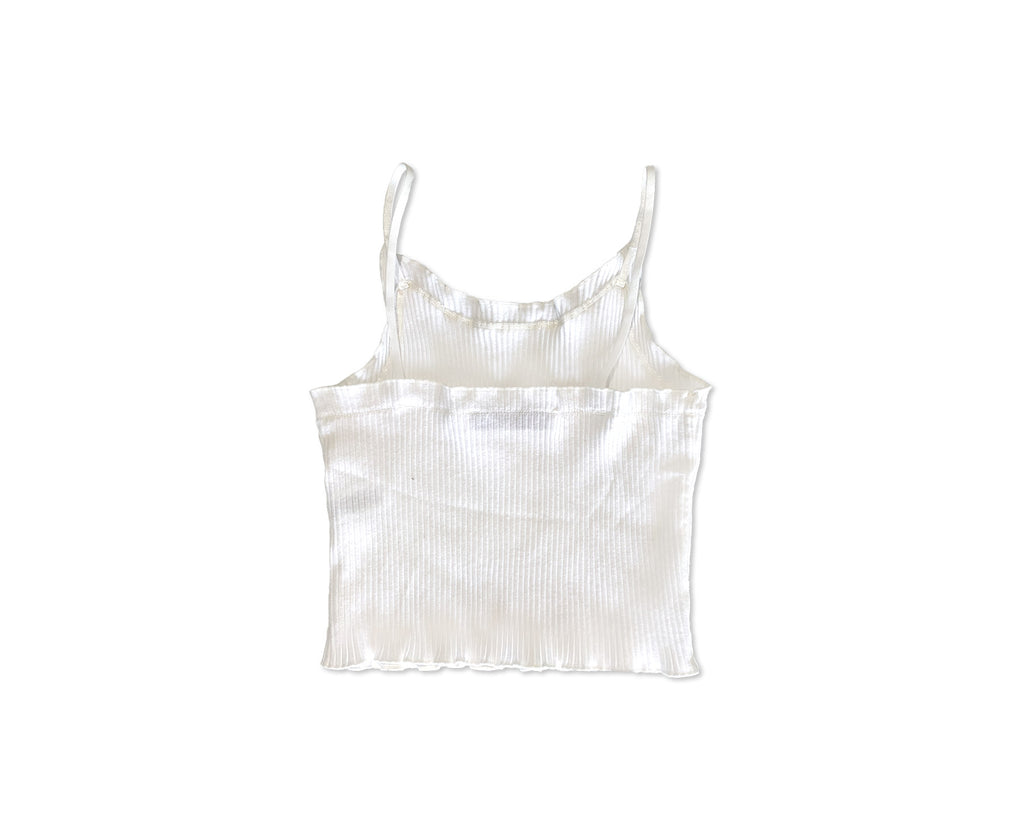 young girls white camisole with ribbed fabric and baby lock edges