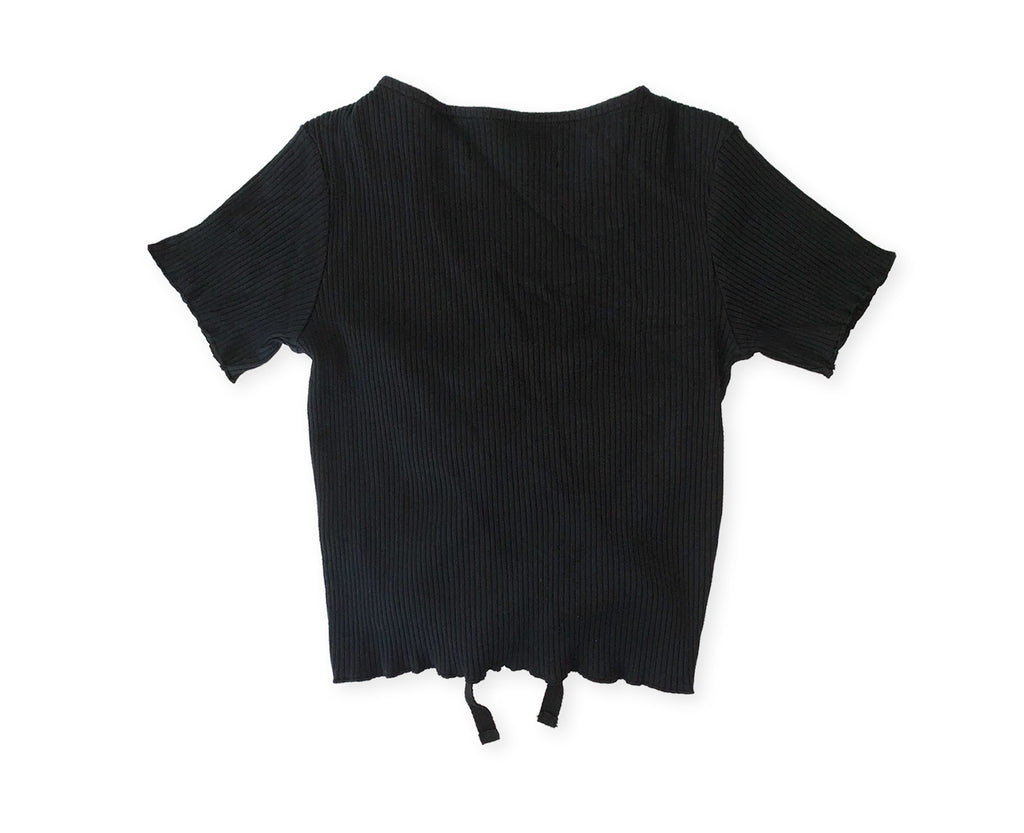 front drawstring ribbed girls top in black